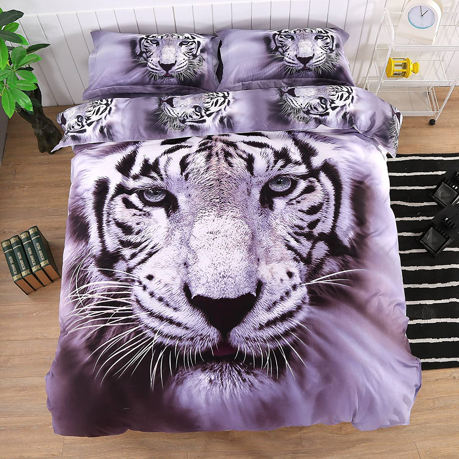 Ammybeddings 4 PCs Cool Tiger Comforter Cover Set Soft Stylish Bedroom Decor Bedding Queen 1 Flat Sheet 2 Pillow Shams and 1 White Tiger Duvet Cover ( No Comforter,No Fitted Sheet )
