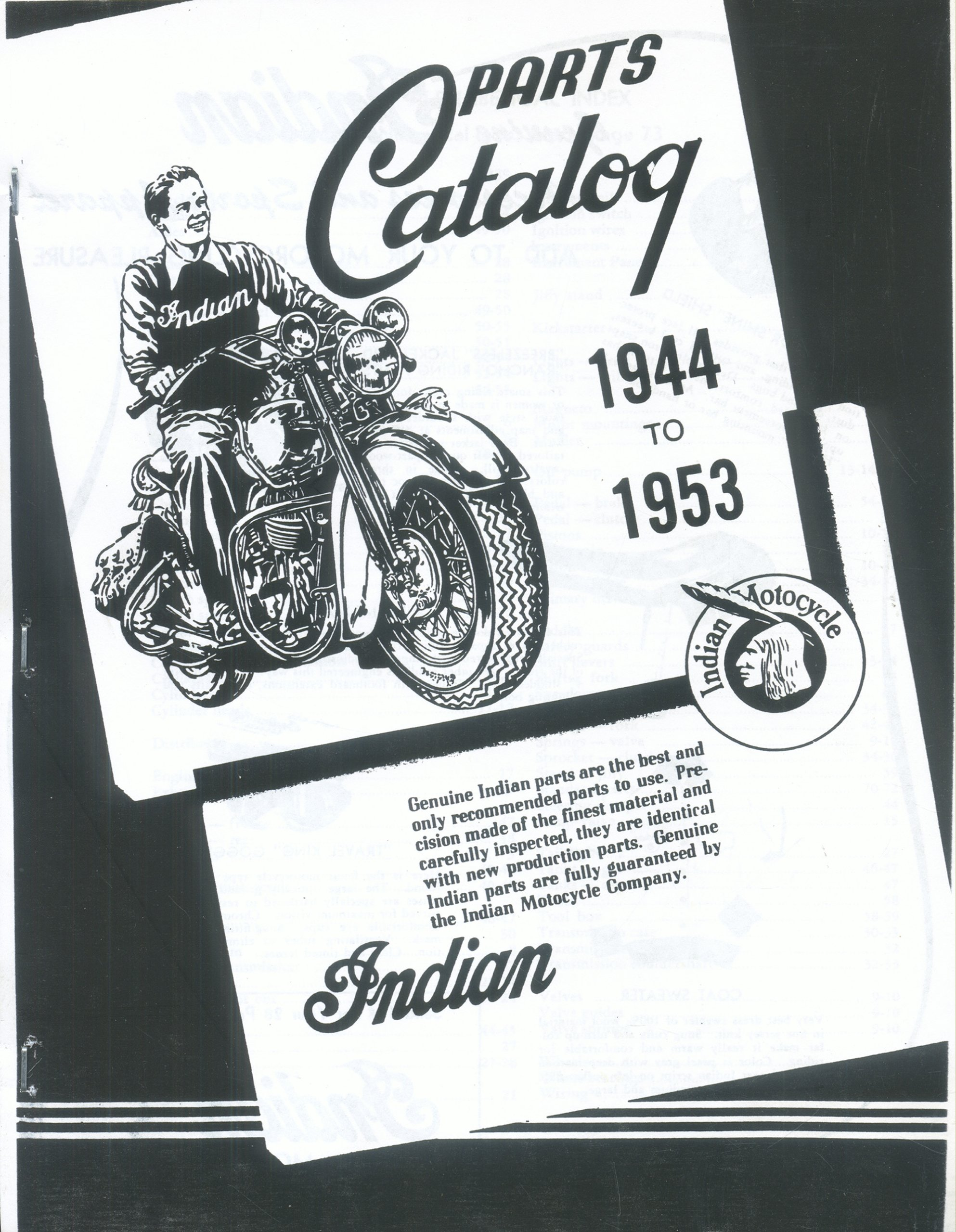 Indian Motorcycle 1944 1953 Parts Catalog Oem Reprint Jacob D 1948 Engine Diagram Junker Editor Publisher Books
