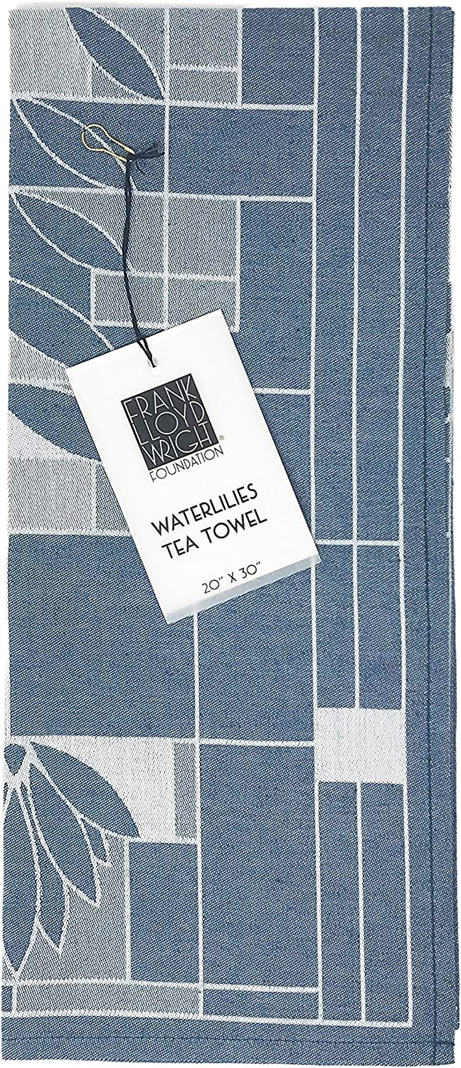 KAF Home Frank Lloyd Wright Woven Jacquard Tea Towel 20 x 30-inch 100-Percent Cotton (Waterlilies)