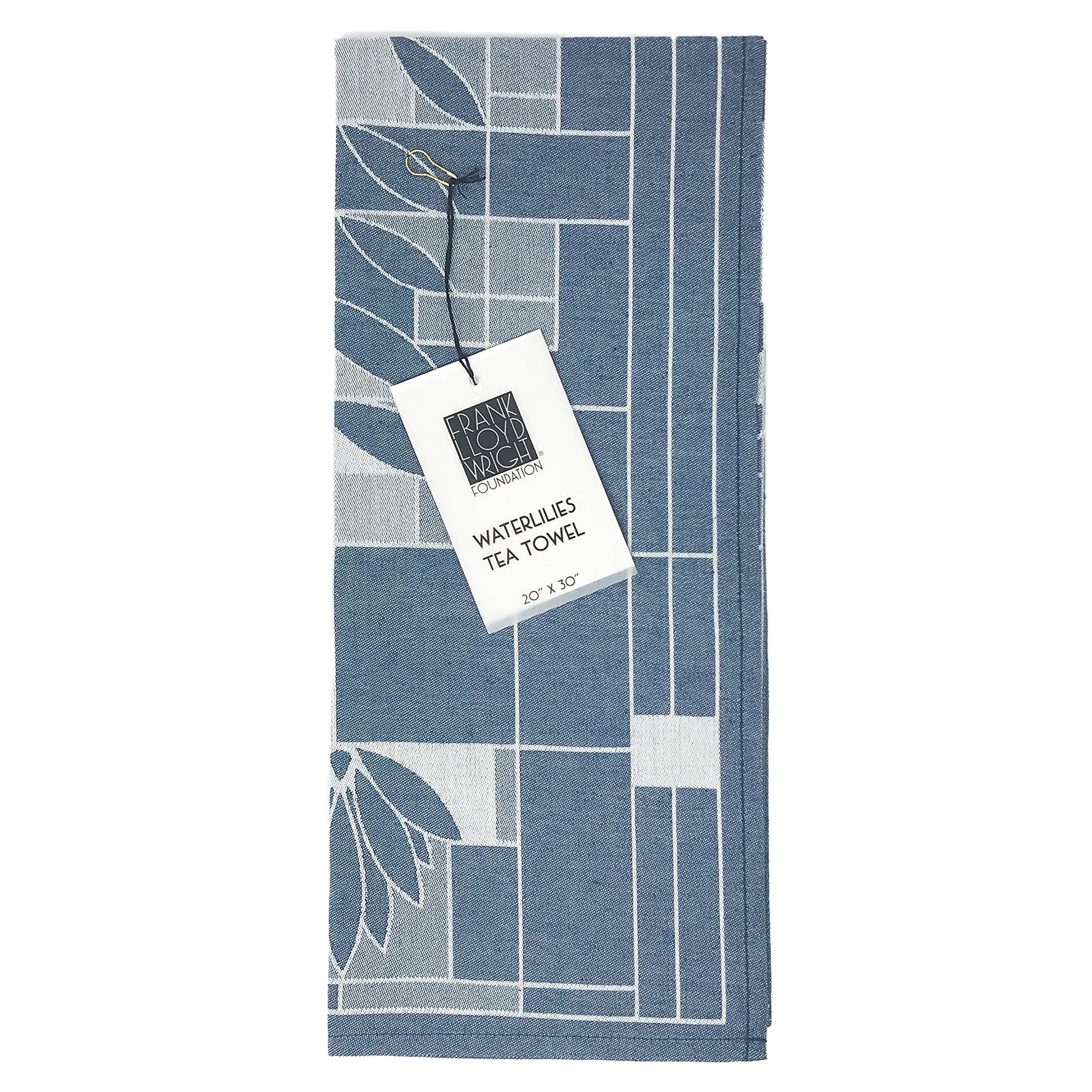 KAF Home Frank Lloyd Wright Woven Jacquard Tea Towel 20 x 30-inch 100-Percent Cotton (Water Lilies)