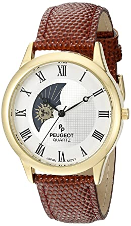 b8c2f830bd8 Amazon.com  Peugeot Men s 14K Gold Plated Decorative Sun Moon Phase Roman  Numeral Brown Leather Band Vintage Large Face Dress Watch 2047GBR  Peugeot   ...