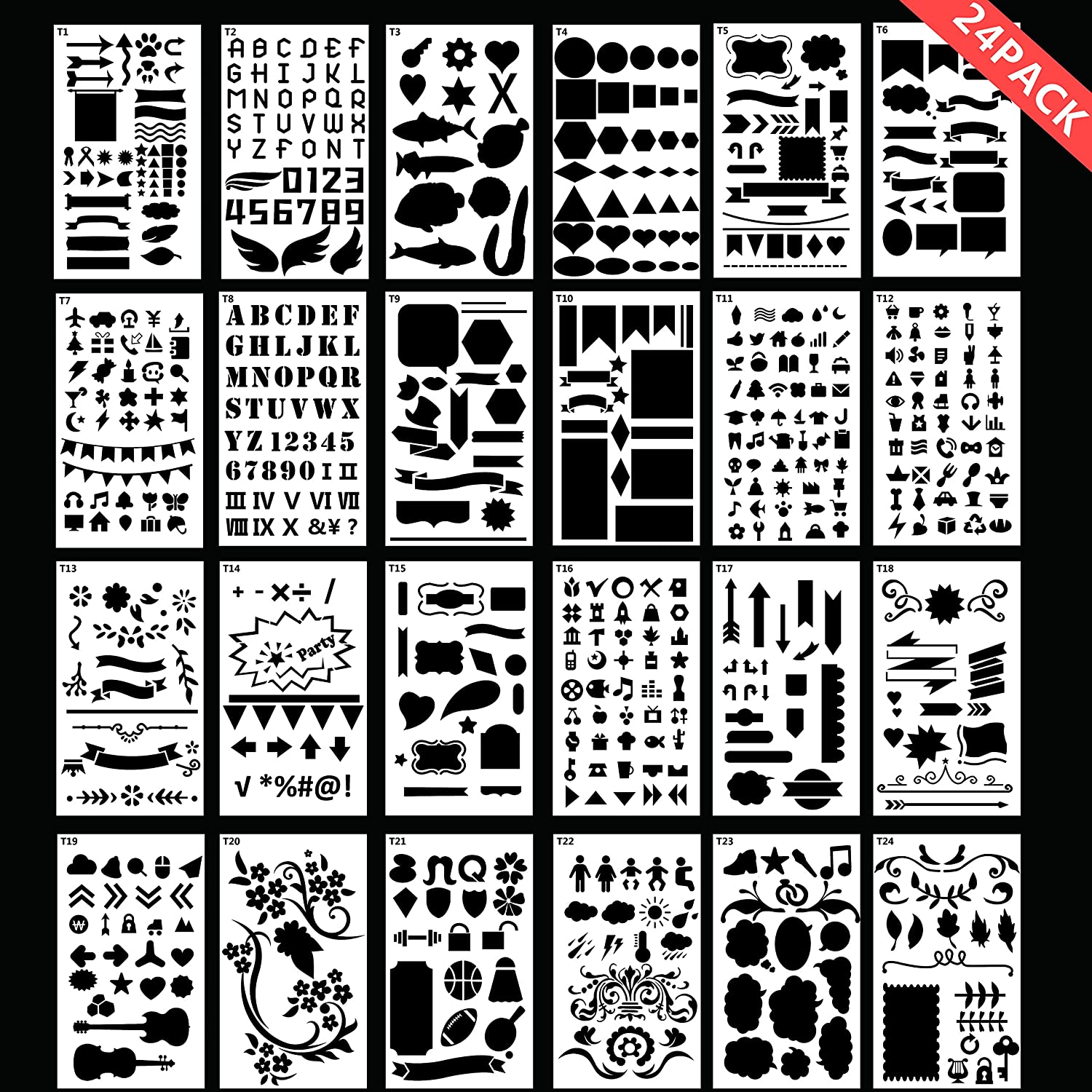 Bullet Journal Stencil Various DIY Drawing Templates Plastic Planner Stencil 24 Pieces with Fabric Zipper Bag for Notebook,Diary Bokiya