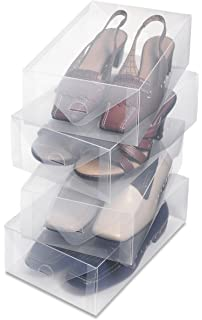 Whitmor Clear Vue Shoe Box   Heavy Duty Stackable Shoe Storage   (Set Of 4