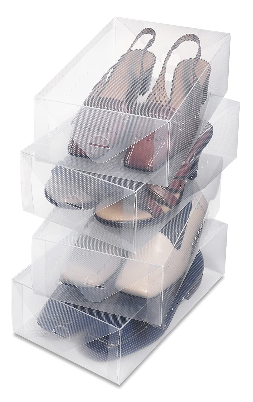 Whitmor 6362-2692-3 Clear Vue Men's Shoe Box, Set of 3
