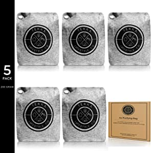 TERRA LIFESTYLE CO - 5 Pack 200G Bamboo Charcoal Air Purifying Bag   Charcoal Bags Odor Absorber   Bamboo Charcoal Bags   Moisture Absorber   Odor Eliminator for House   Bathroom Room Car Air Freshener Deodorizer   Charcoal Bags for Mold and Mildew