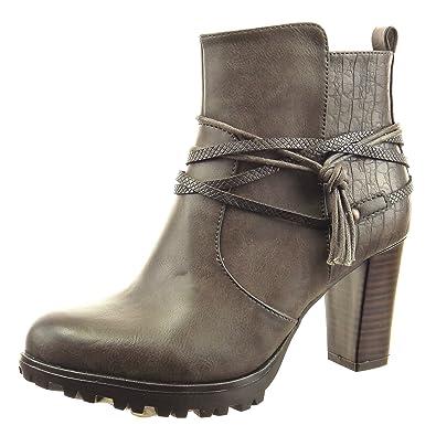 119f7046939379 Sopily - Chaussure Mode Bottine Low Boots Montante Femmes Peau de Serpent  Multi-Bride Corde