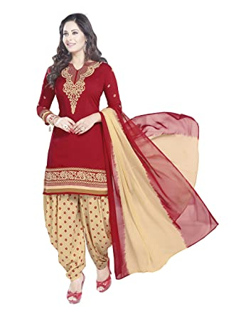d1a2b17407 Image Unavailable. Image not available for. Colour: SHREE JEEN MATA  COLLECTION Women's Unstitched Synthetic Crepe Leon Patiala Salwar Suit ...