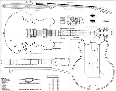 Gibson ES-335, CS-356, Les Paul y L5-CES - Juego de 4 planes de ...