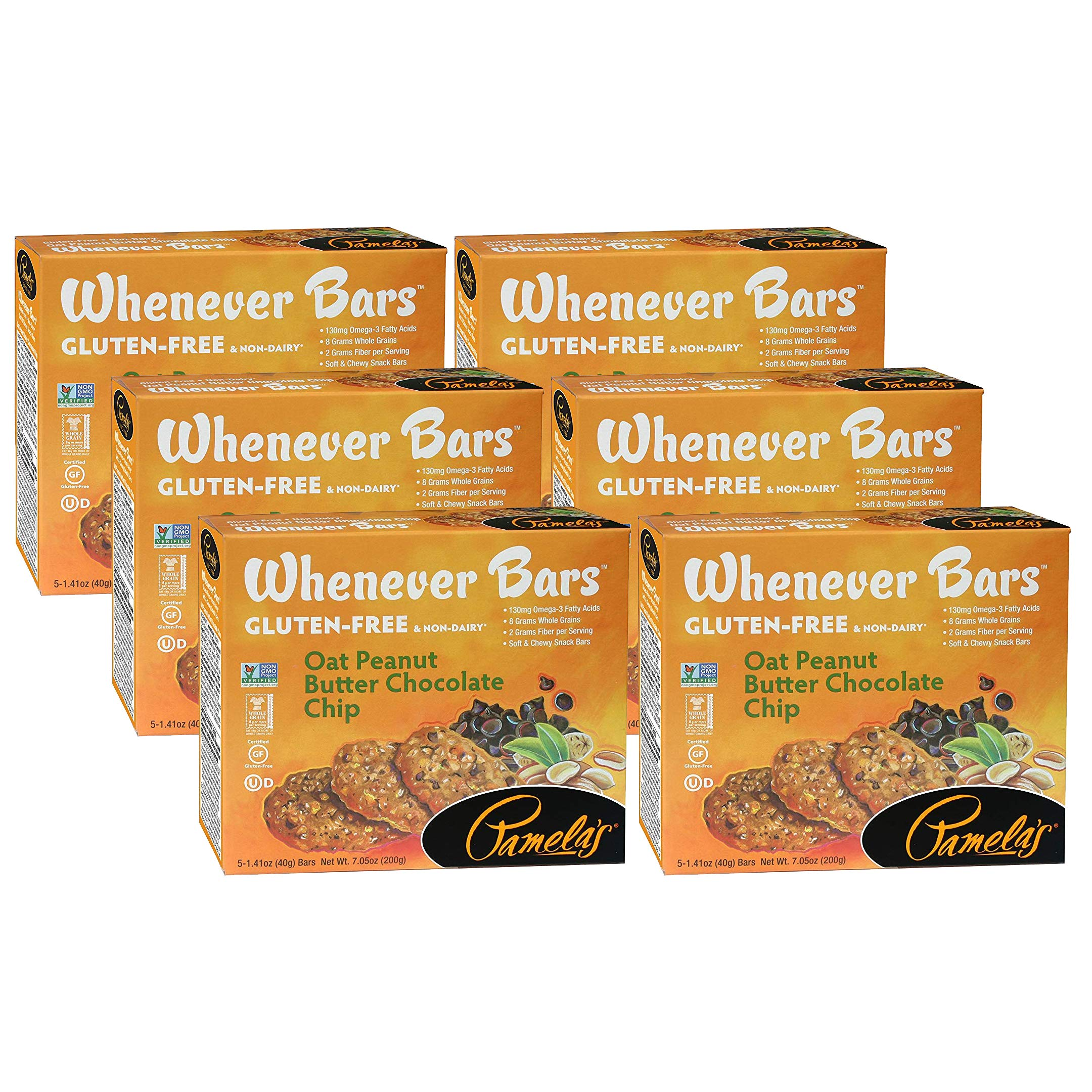 Pamela's Products Gluten Free Whenever Bars, Oat Peanut Chocolate Chip, 5 Bars per Box, 6 Count by Pamela's Products