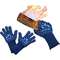 BlueFire Pro Heat Resistant Gloves - Oven - BBQ Grilling - Big Green Egg - Fireplace Accessories and Welding. Cut Resistant Forearm Protection -100% Kevlar Certified 932°F Heat Resistance
