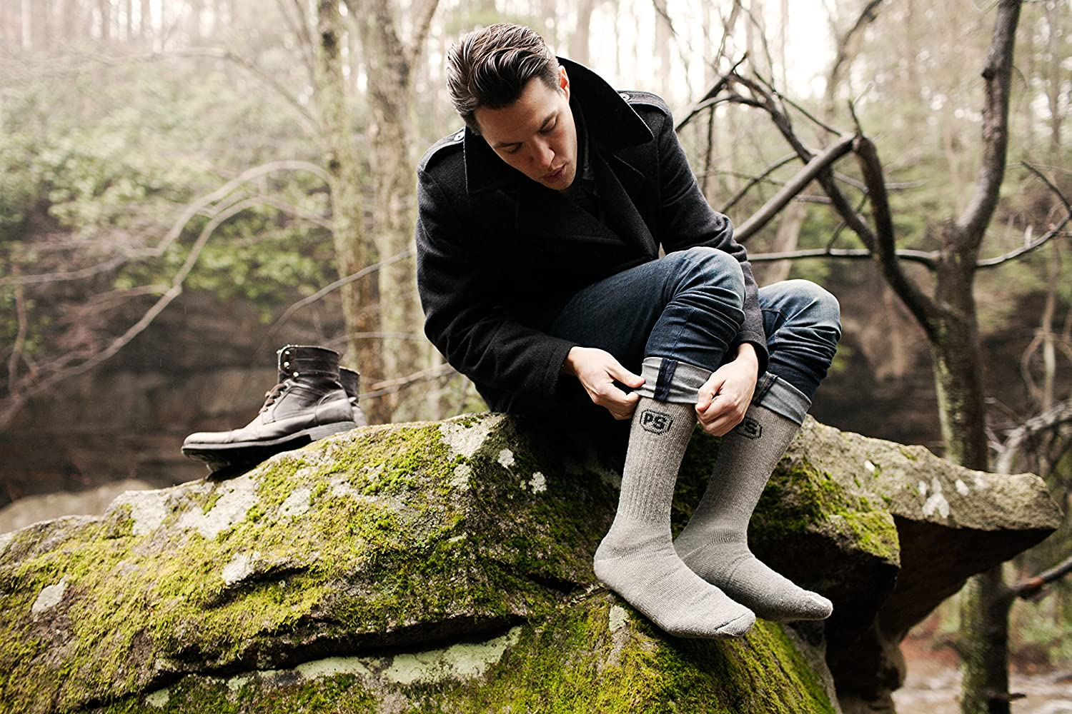PEOPLE SOCKS Mens Womens Merino wool crew socks 4 pairs 71/% premium with Arch support Made in USA