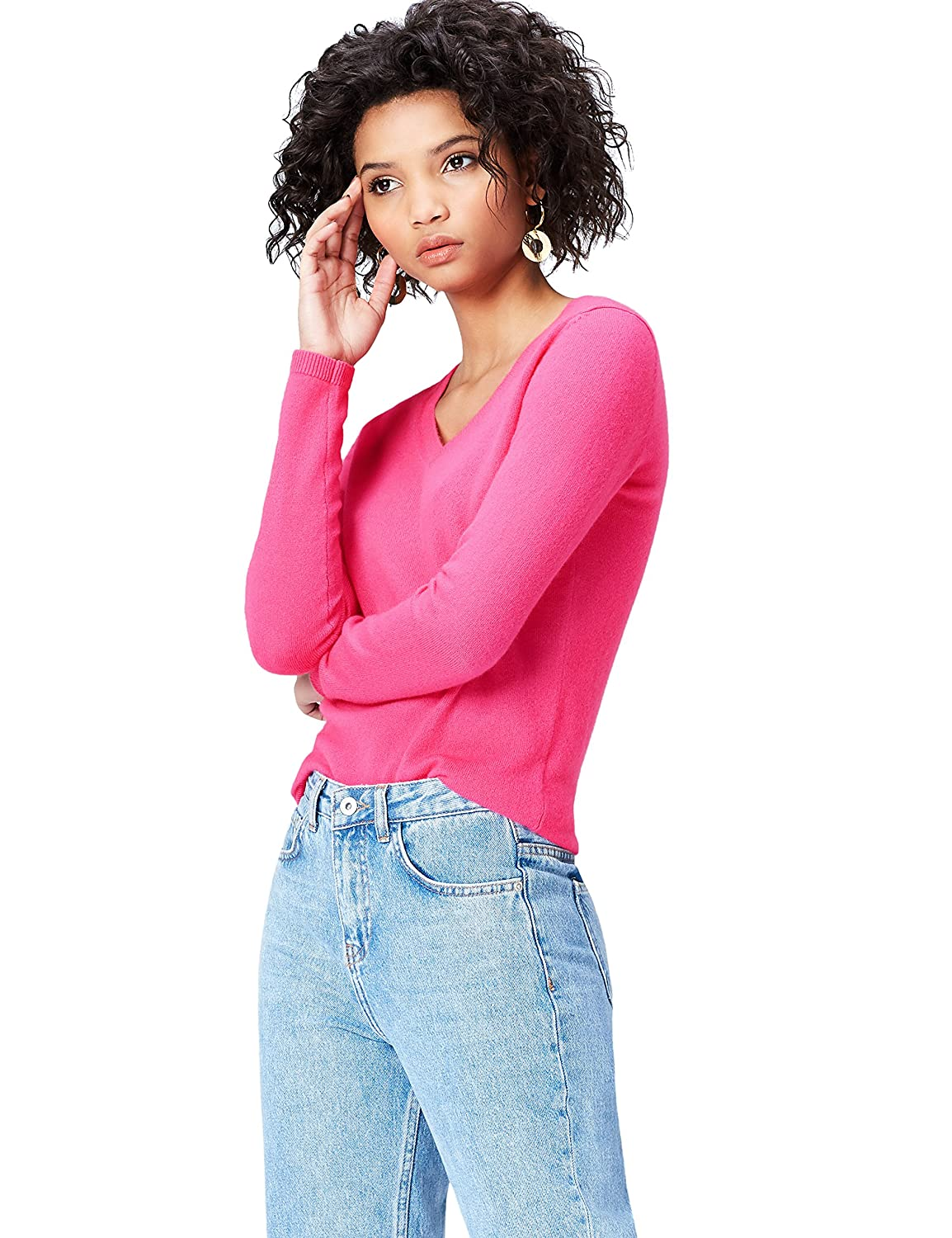 FIND Women's Jumper in Cashmere V-Neck AMZ001