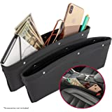 2 in 1 Car Seat Gap Organizer | Universal Fit | Storage Pockets Adjust | 2 Set Car Seat Crevice Storage Box | Helps Reduce Distracted Driving & Holds Phone Money Cards Keys Remote | Black Stitching