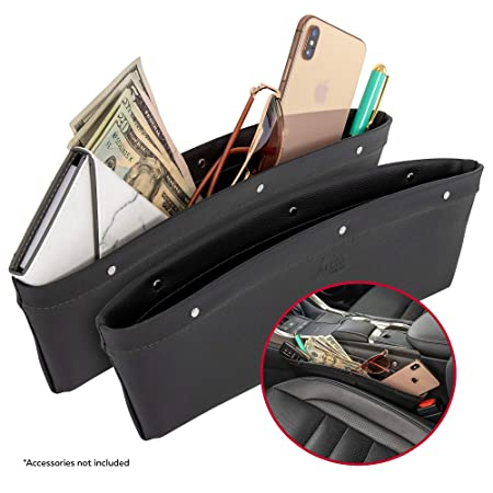 2 In 1 Car Seat Gap Organizer | Universal Fit | Storage Pockets Adjust | 2 Set Car Seat Crevice Storage Box | Helps Reduce Distracted Driving & Holds Phone Money Cards Keys Remote | Black Stitching by Lusso Gear