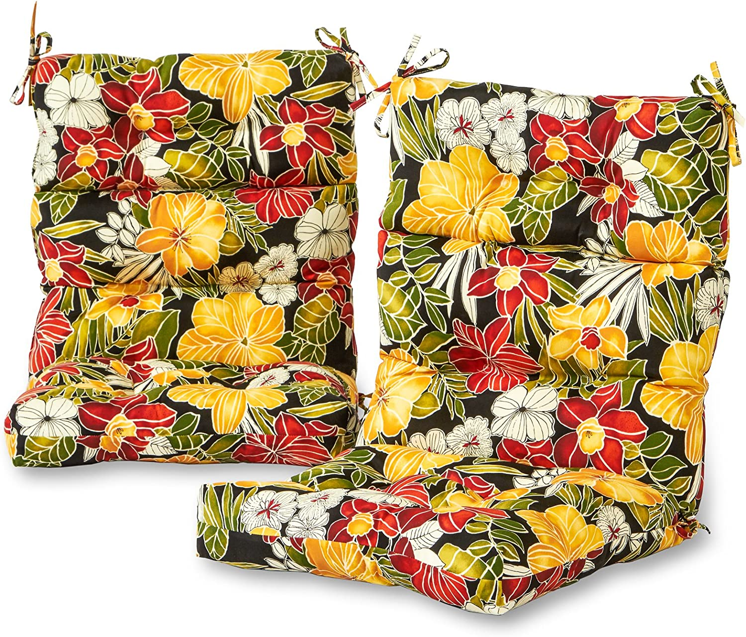 Greendale Home Fashions Outdoor High Back Chair Cushion Set in Aloha Black, Set of 2