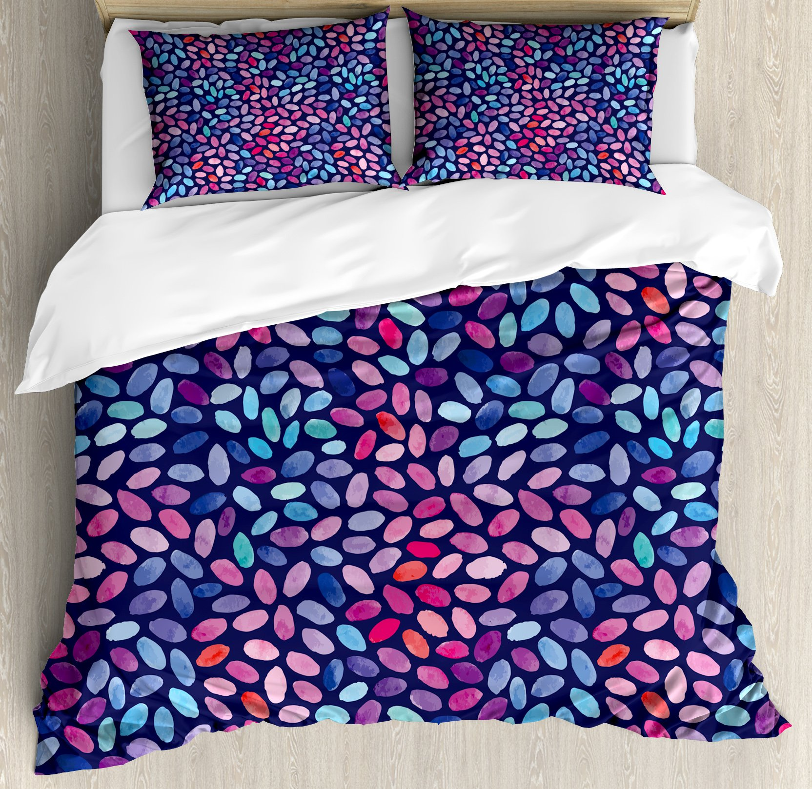 Ambesonne Grunge Duvet Cover Set King Size, Vibrant Watercolor Spots Oval Shapes Paintbrush Effect Abstract Artistic, Decorative 3 Piece Bedding Set with 2 Pillow Shams, Violet Blue Multicolor