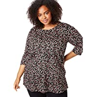 Woman Within Plus Size Perfect Printed Three-Quarter Sleeve Tunic