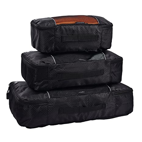 dcf1bcfde9c5 Hopsooken Packing Cubes System - 3 Pieces Sets Travel Luggage Packing  Organizers (Black)