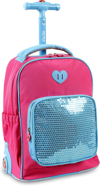 J World New York Kids' Sparkle Rolling Backpack
