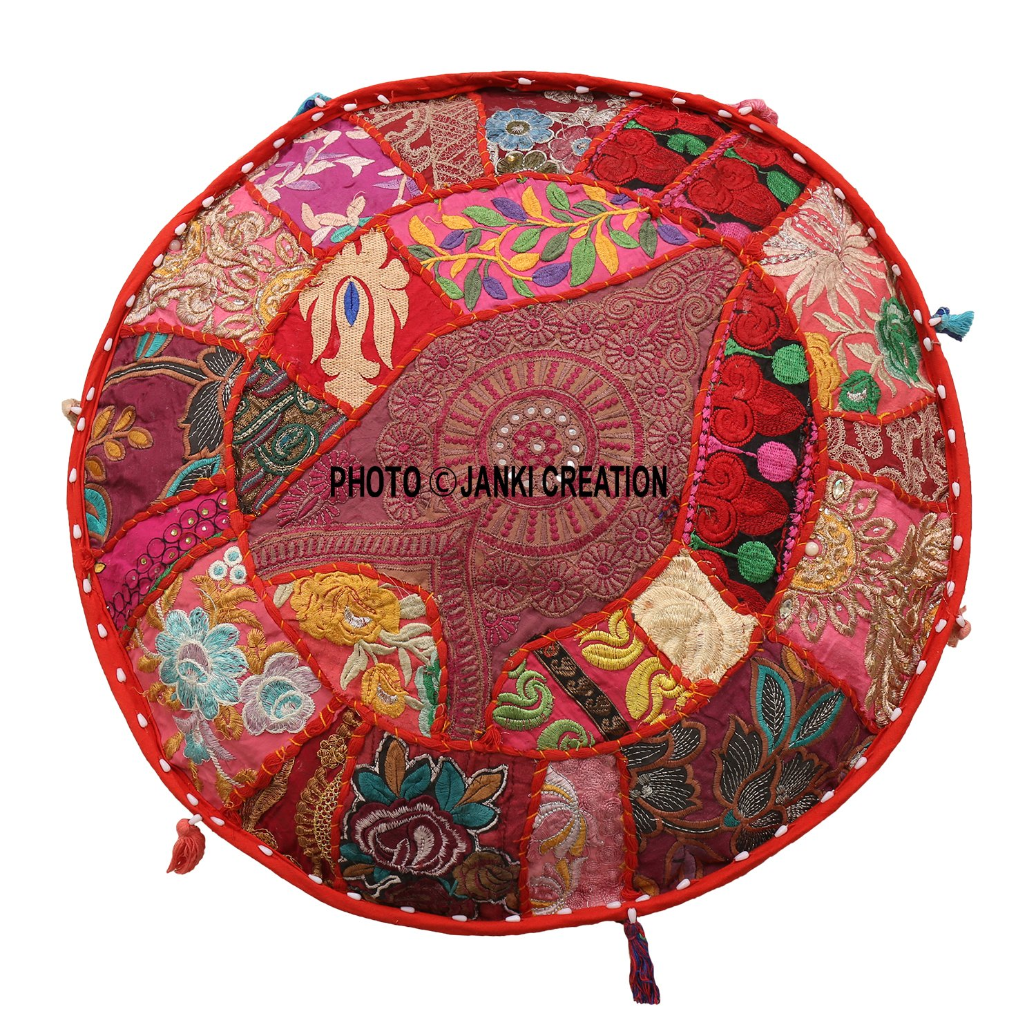 Indian Round Patchwork Embroidered Ottoman Pouf Bohemian Indian Decorative Patchwork Ottoman Pouf,Home Living Room Vintage Pouf Size 13 X 18 X 18 Inches Embellished Ottoman Stool Pouf Cover,Home Decor