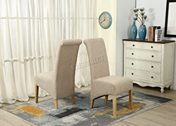 WestWood Furniture Set Of 6 Premium Cream Linen Fabric Dining Chairs Roll  Top Scroll High Back