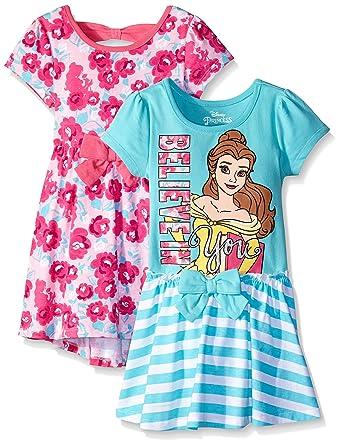 Disney Little Girls 2 Pack Belle Dresses Pink