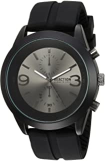 8842a9b20ca Kenneth Cole REACTION Men s Analog-Quartz Metal Case  Stainless-Steel Silicone Strap Casual