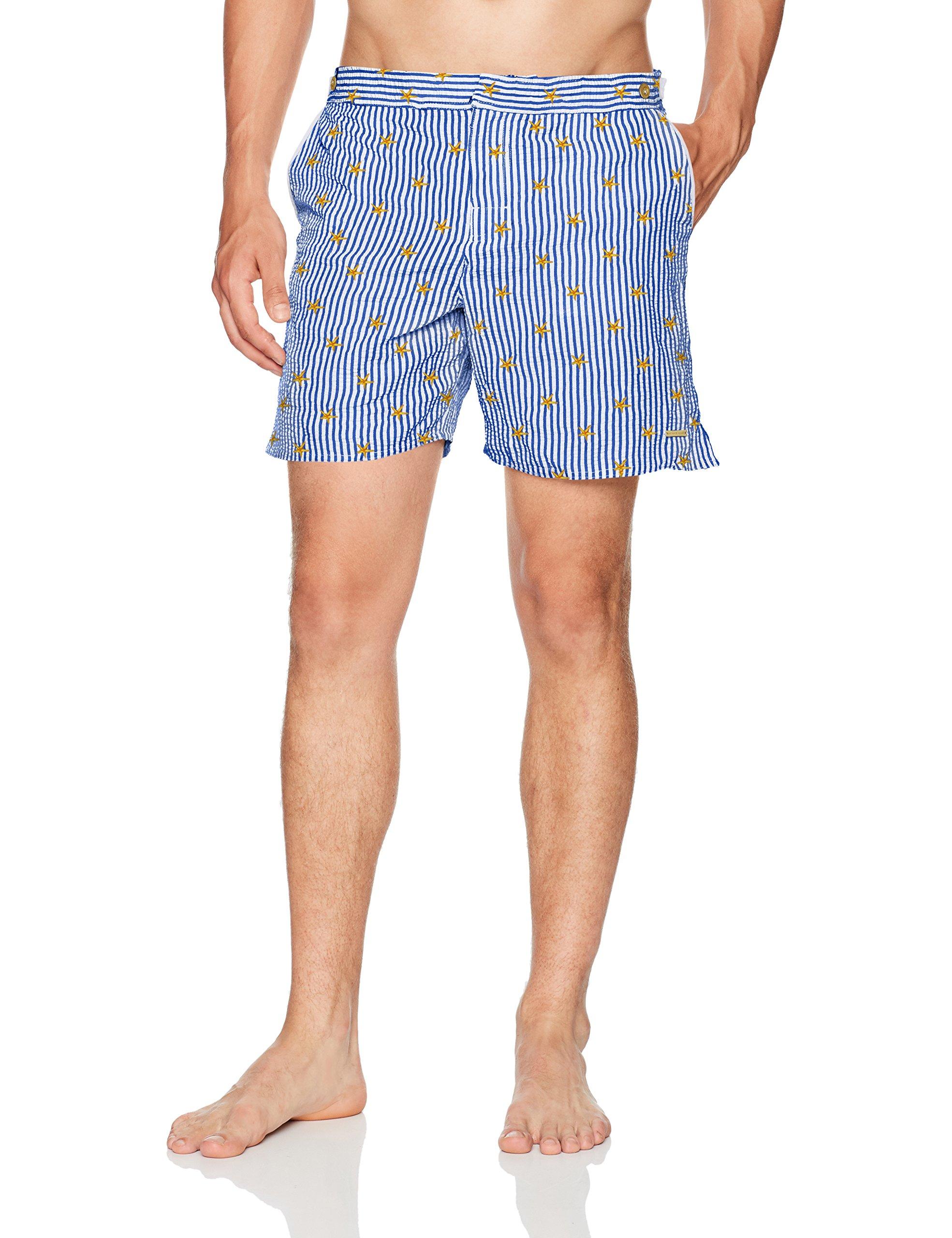 parke & ronen Men's Catalonia Embroidered 6-Inch Swim Short, Navystripestarfish, 34