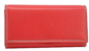 041c8041193e7 Rote Damen Geldbörse Leder Lang mit viele Kreditkarten (Beidseitig  bedienbar) Fächer Frauen Portemonnaie Portmonee