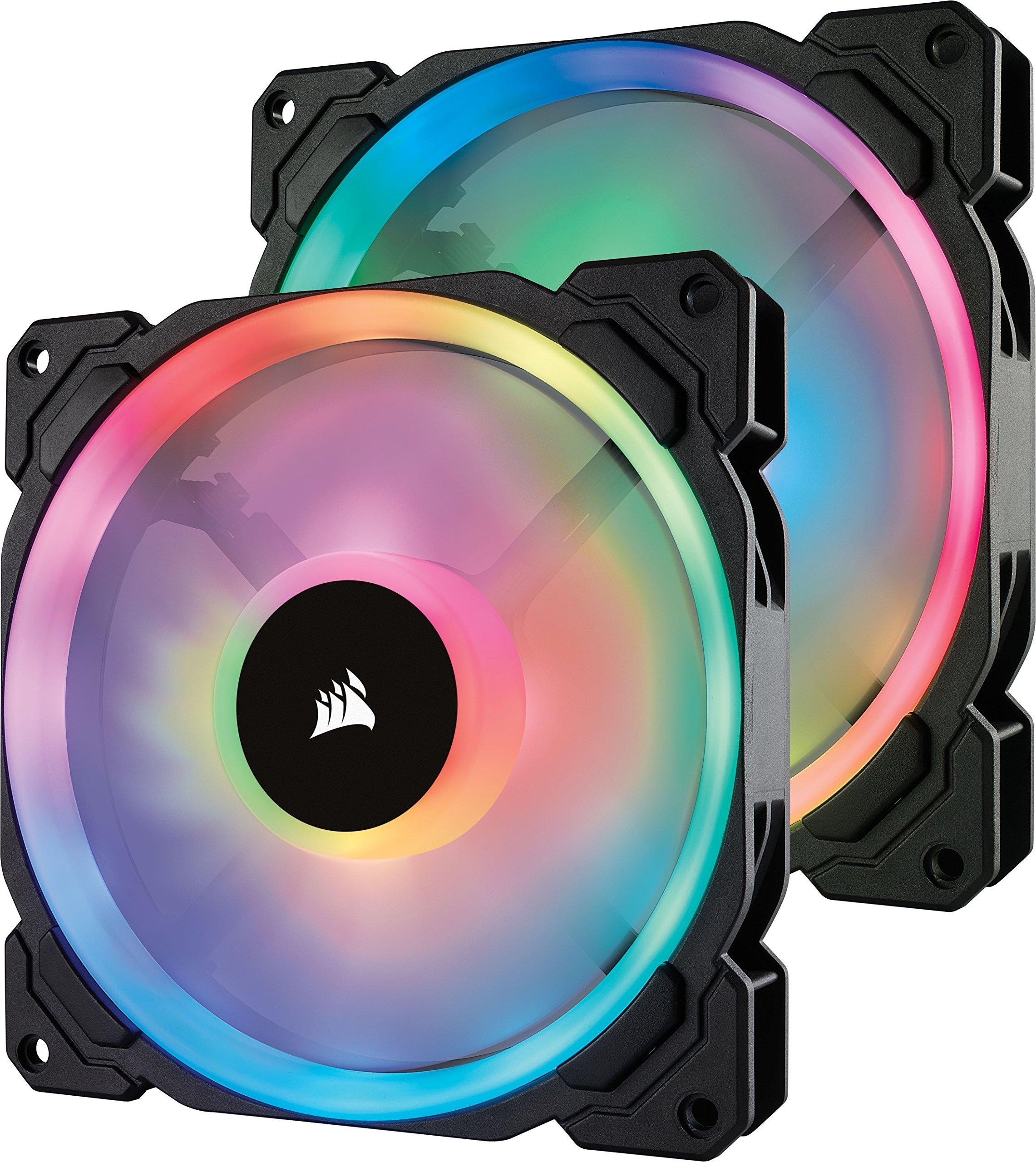 Corsair LL Series LL140 RGB 140mm Dual Light Loop RGB LED PWM Fan 2 Fan Pack with Lighting Node Pro (Renewed) by Corsair