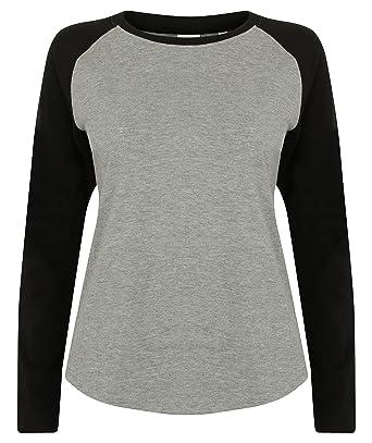 179cef0abd9 Skinnifit Ladies Long Sleeve Baseball T-Shirt: Amazon.co.uk: Clothing