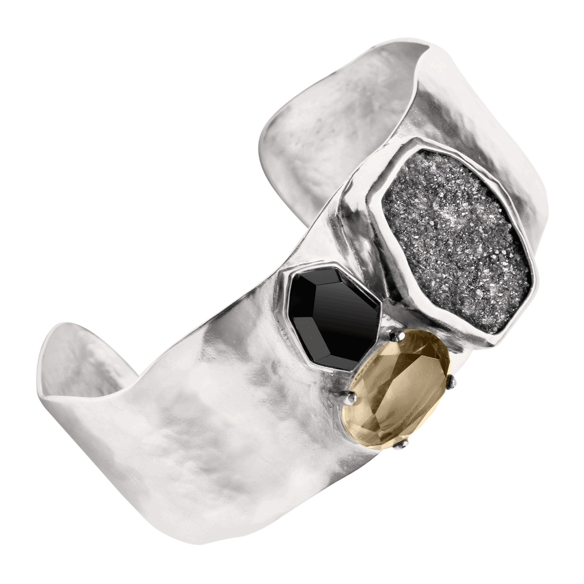 Silpada 'Crystal Cave' Sterling Silver, Agate, Crystal, Druzy, and Quartz Cuff 6.75''