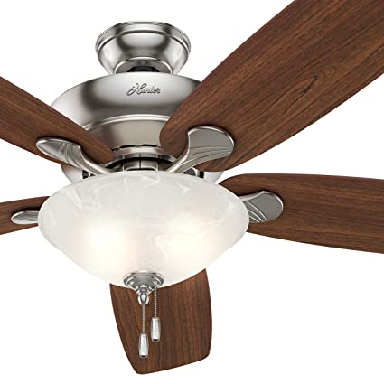 Hunter fan 60 ceiling fan in brushed nickel with swirled marble hunter fan 60quot ceiling fan in brushed nickel with swirled marble glass light kit mozeypictures Choice Image