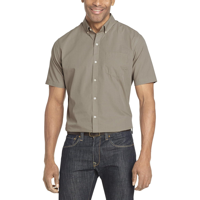 Van Heusen Mens Wrinkle Free Short Sleeve Button Down Check Shirt