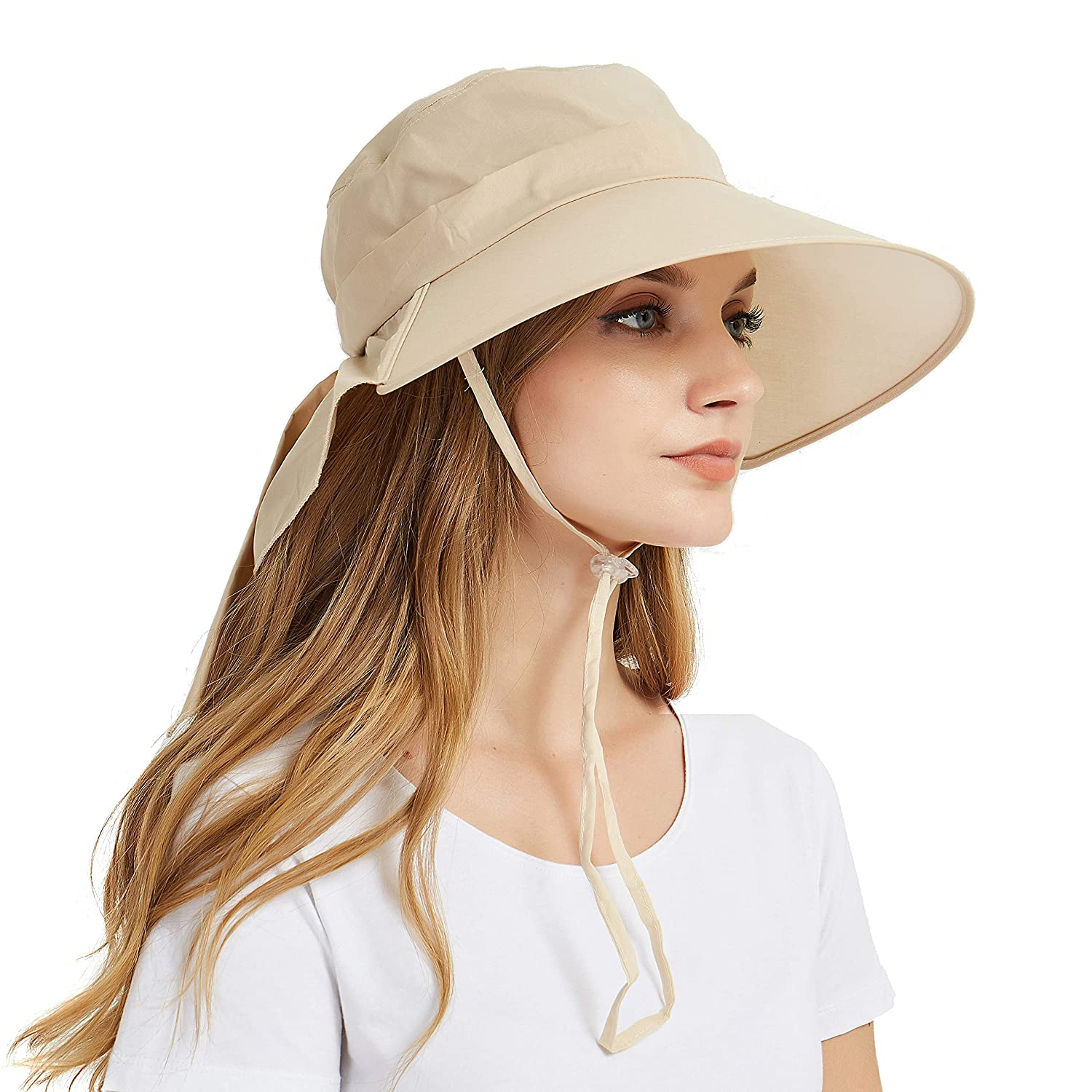 EINSKEY Ladies Sun Hat Summer Womens Wide Brim Packable Cotton Hat with Neck Protection Flap and Chin Strap