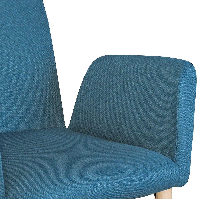 Esszimmer-Sessel Modern Skandinavische Esszimmerst/ühle mit Stoffbezug FineBuy Design Esszimmerstuhl 2er Set FB6735 mit Armlehnen Polsterst/ühle Petrol Gem/ütlicher Armlehnenstuhl mit Holzbeinen