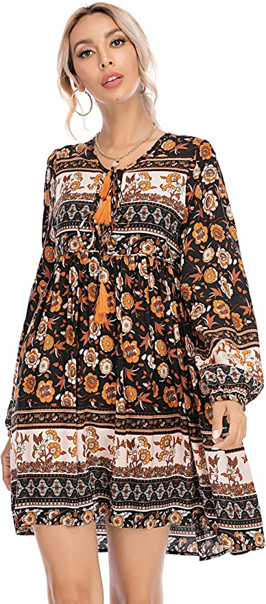 R.Vivimos Womens Long Sleeve Floral Casual Print Cotton Mini Tunic Dress
