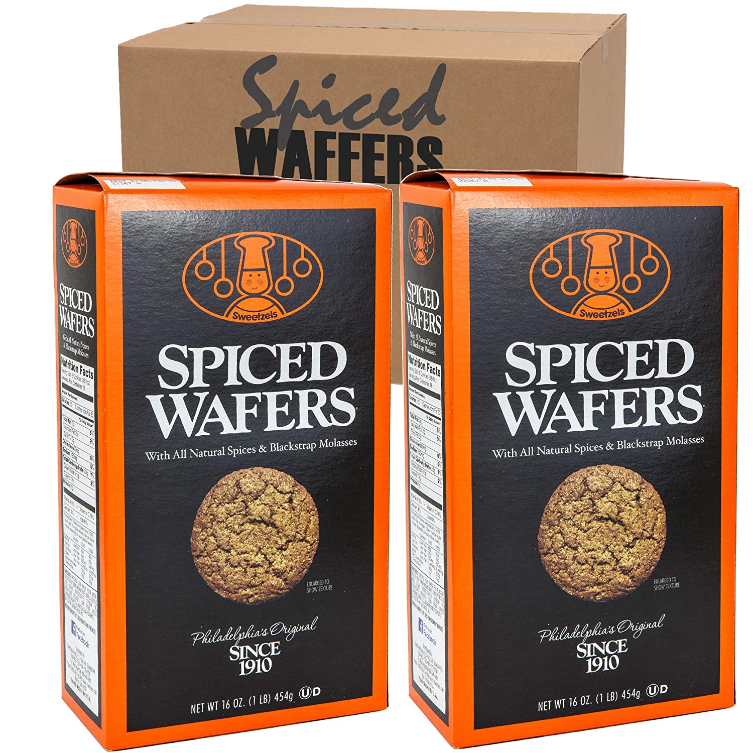 Spiced Wafers | Philadelphia Original Famous Ginger Snaps - Sweetzels | With All Natural Spices & Blackstrap Molasses | Pack of 2 Boxes 16 Oz Each (Spiced Wafers)