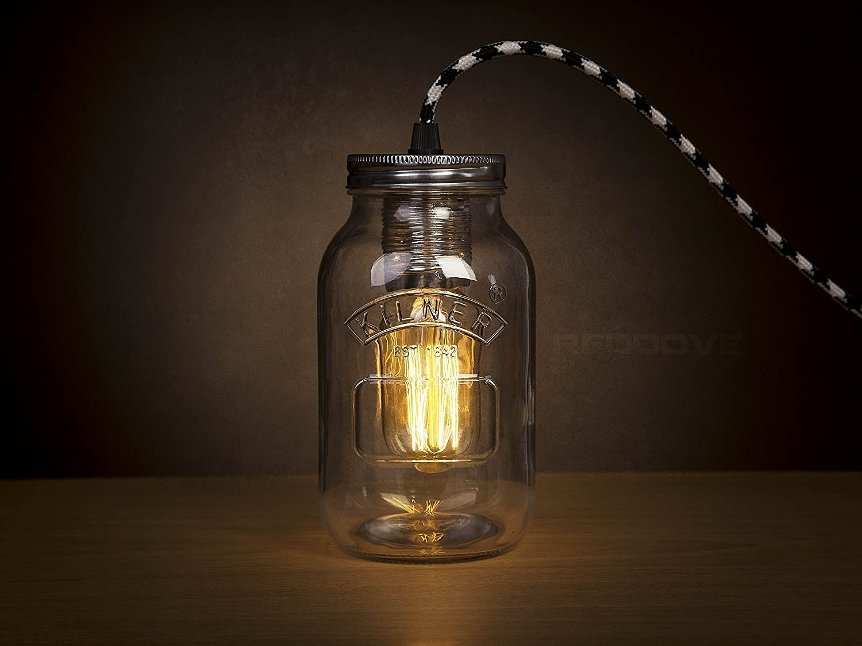 Kilner mason Jam Jar plug pendant light lamp