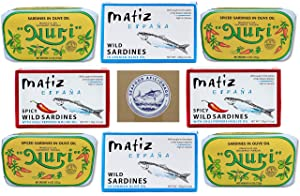 Seafood Aficionado Sardines Deluxe Quartet | 8 Pack | NURI Portuguese Sardines and Matiz Spanish Sardines Bundle | 8 Cans, 2 Cans of Each Variety
