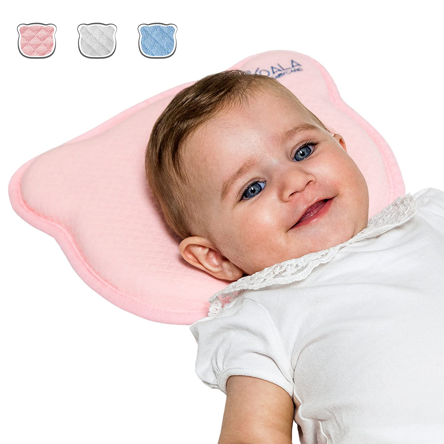 Perfect Head White KoalaBabycare/® Plagiocephaly Baby Pillow with Two Removable Covers for The Prevention and Cure of Flat Head Syndrome in Memory Foam Anti-Suffocation