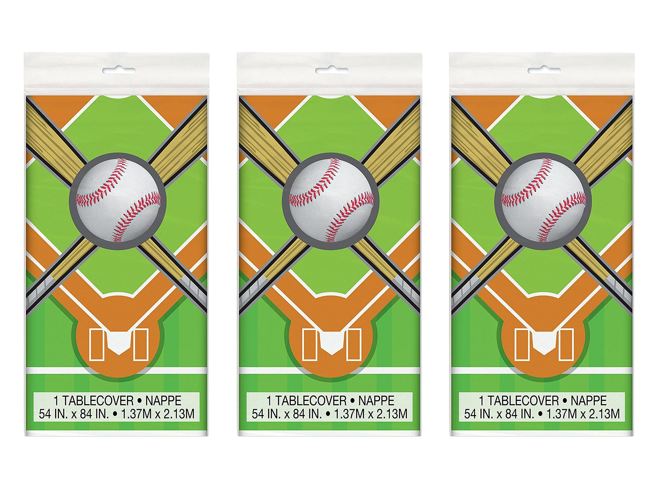 Set of 3 Unique 84'' x 54'' Baseball Plastic Tablecloth bundled by Maven Gifts