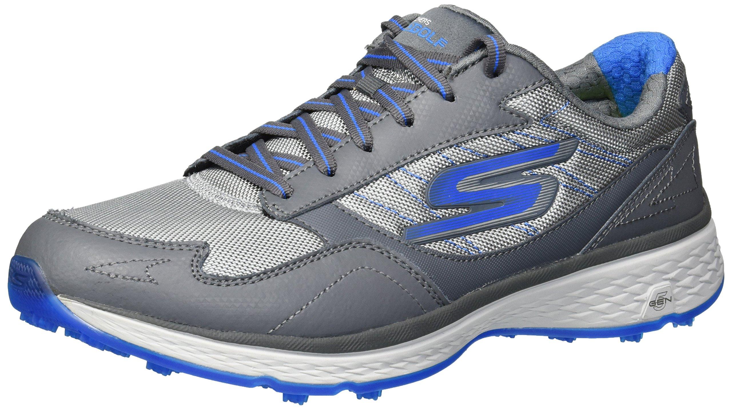 Skechers Golf Men's Go Golf Fairway Golf Shoe, Charcoal/Blue, 7.5 M US