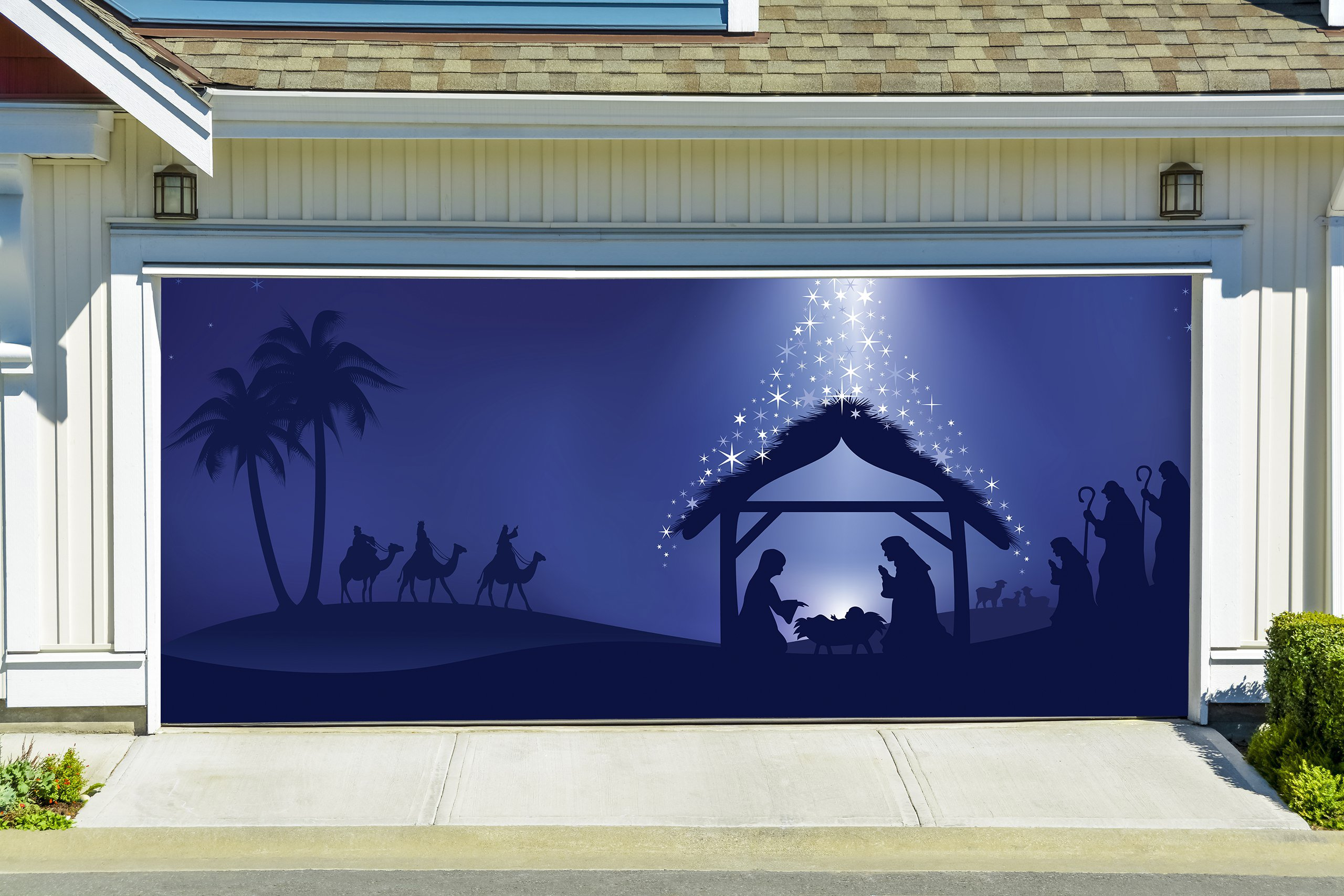 Holy Night Decor Banners for 2 Car Garage Door Covers Outdoor Jesus Murals 3D Effect Christmas Nativity Scene Full Color House Billboard Garage Door Holiday Christmas size 82x188 inches DAV219 by WallTattooHome