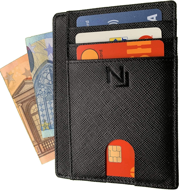 Porta tessere e banconote RFID Porta carte di credito anti-frode per uomo e donna in VERA PELLE Saffiano NAILATI /® Portafoglio sottile nero Cofanetto regalo incluso -