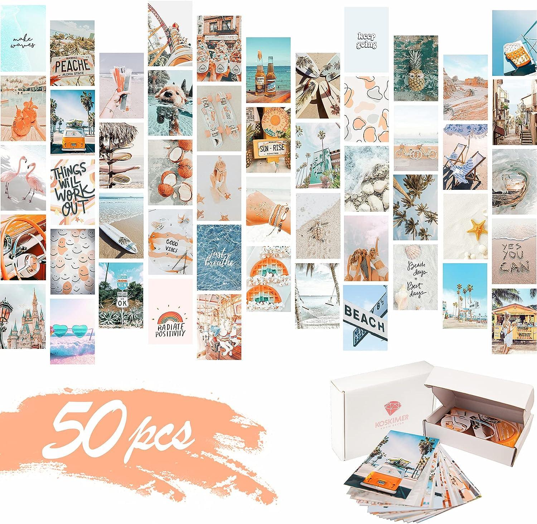 KOSKIMER Peach Blue Aesthetic Photo Collage Kit, 50 Set 4x6 Inch Wall Collage Kit Aesthetic Pictures, Bedroom Decor for Girls, Summer Beach VSCO Posters for Dorm Room Decor, Aesthetic Collage Kit (50 Set)