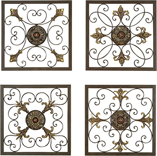 Aspire Deco 79 Rustic Metal Framed Scrollwork and Medallion Wall Plaque