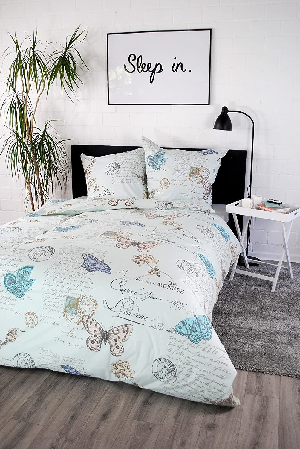 jilda-tex Bettwäsche 100% Baumwolle Design Vintage Butterfly blue ...