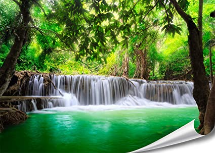 Pmp 4life Feng Shui Wall Art Waterfall In Thailand Nature Jungle Mural In Hd Xxl Poster 55 Inch X 39 4 Inch High Resolution Wallpaper Decoration Image