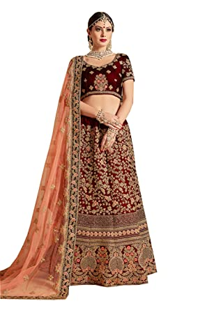 2c103651ba Ardhangini Vastram Velvet and Net lehenga choli for women for bride(Maroon,  Free Size, Diwali1204): Amazon.in: Clothing & Accessories